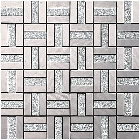 Silver Glass Mosaic Aluminuml 3D Metal Tile- Kitchen Backsplash / Bathroom Wall / Home Decor / Fireplace Surround- G12 (11PCS (Fireplace Wallpaper)