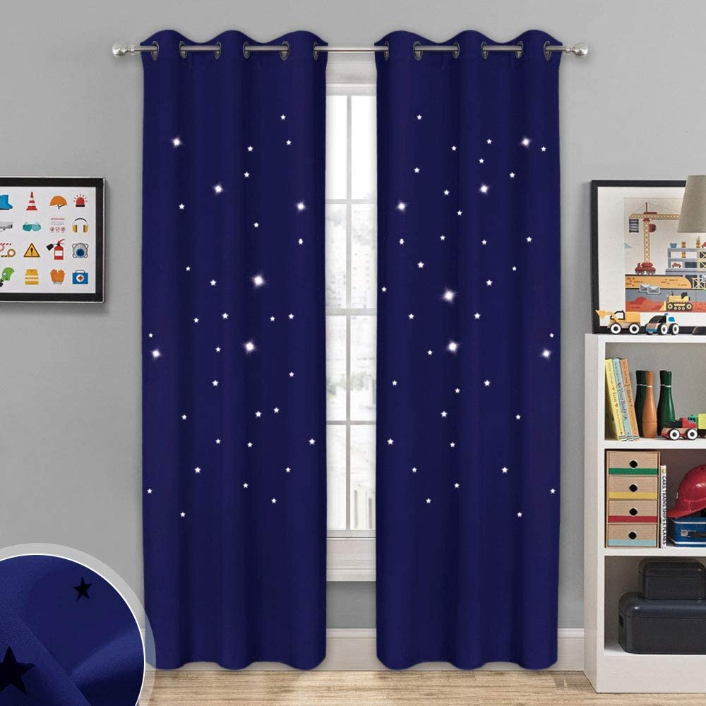 NICETOWN Star Themed Kids Curtains - Grommet Top Thermal Insulated Window Draperies with Die Cut Stars for Bedroom/Home Theater/Living Room (42 inches Width, 84 inches Length, Navy Blue, 2 Panels)