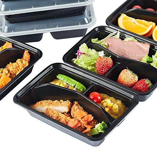 NutriBox [20 Value Pack] 3 compartment Meal Prep Plastic Food Storage Containers with lids - BPA Free Reusable Lunch Bento Box - Microwave, Dishwasher and Freezer Safe (20OZ)