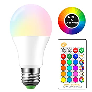 Konesky Bombilla LED RGBW, Cambio de Color Bombilla E27 10W Stage Bulbs 4 Modos Iluminación Atmosphere Lámpara estroboscópica LED KTV Lámpara Decorativa ...