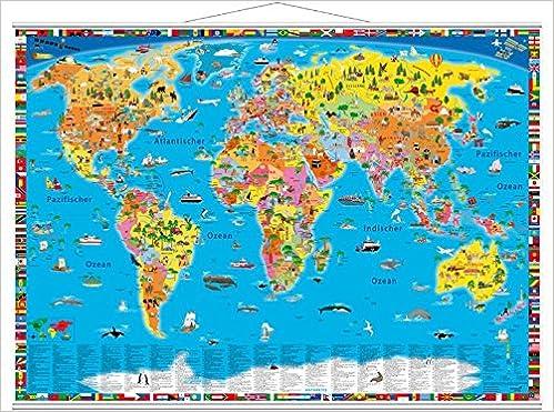 Illustrierte Politische Weltkarte 9783946040019 Amazon Com Books