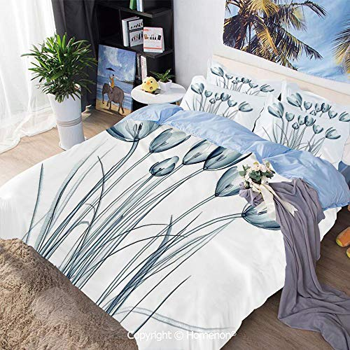 3-Piece Bed,X ray Transparent Image of Tulips Solarized Effects Nature Inspired New Vision Home,King Size,Include 1 Quilt Cover+2 Pillow case,Teal - X-ray Explorer
