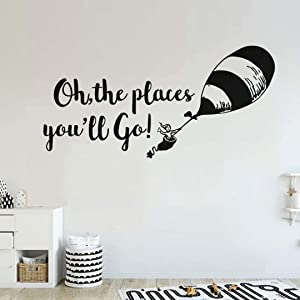BATTOO Oh The Places You'll Go Nursery Wall Decal - Balloon Vinyl Wall Quotes Kids Baby Room Theme Wall Art(Black, 30