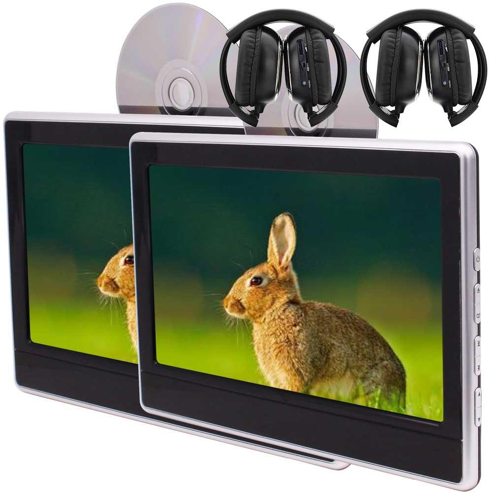 11.6「内蔵IR / FM /トランスミッタ/スピーカー/ USB / SD入力ツインビデオバックシートユニット+リモコン/ゲームディスク/ゲームパッド/ワイヤレスIRヘッドフォンと」HDタブレットスタイル2個カーヘッドレストDVDプレーヤー B0788NGRN7