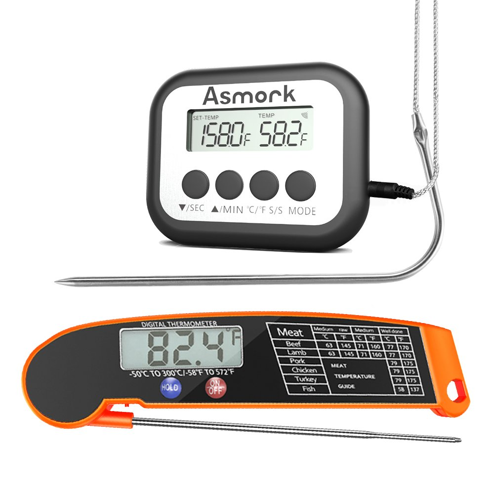 Asmork Instant Read Meat Thermometer with Collapsible Probe & Digital Cooking Meat Thermometer Large LCD with Timer Mode for Grill Cooking Meat Kitchen Oven BBQ