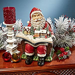 Christmas Decorations - Santa Claus Coming to Town Winter Wonderland Holiday Book Statue 37