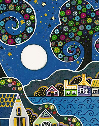 11x14 INCH PRINT OF ORIGINAL PAINTING RYTA ABSTRACT FOLK ART LANDSCAPE VILLAGE MEXICAN STYLE FINE WALL -