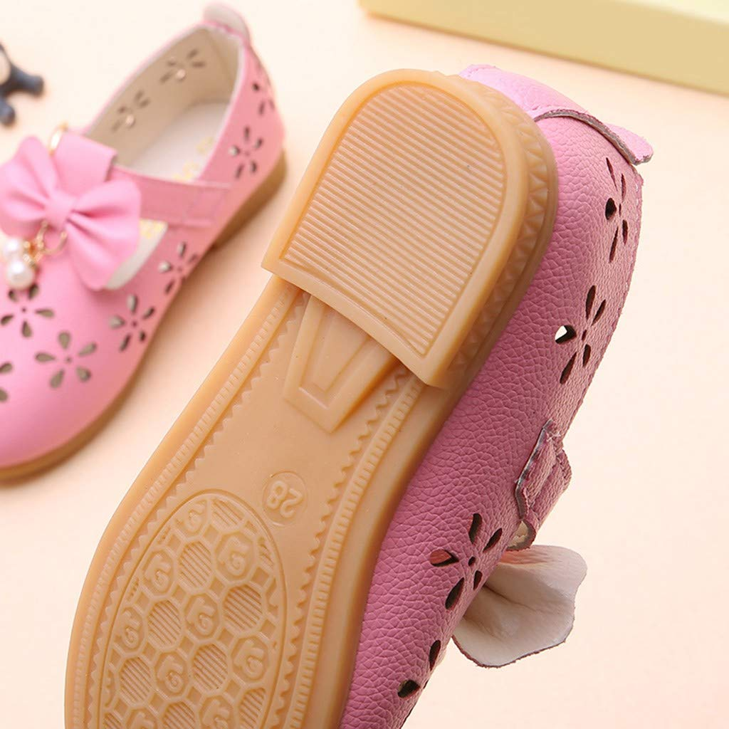 XLnuln Children Kids Baby Girls Bowknot Pearl Hollow Dance Single Princess Casual Shoes Comfortable Sandals