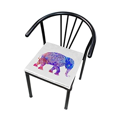 "HNTGHX Outdoor/Indoor Chair Cushion Ethnic Mandala Elephant Square Memory Foam Seat Pads Cushion for Patio Dining, 16"" x 16"": Home & Kitchen"