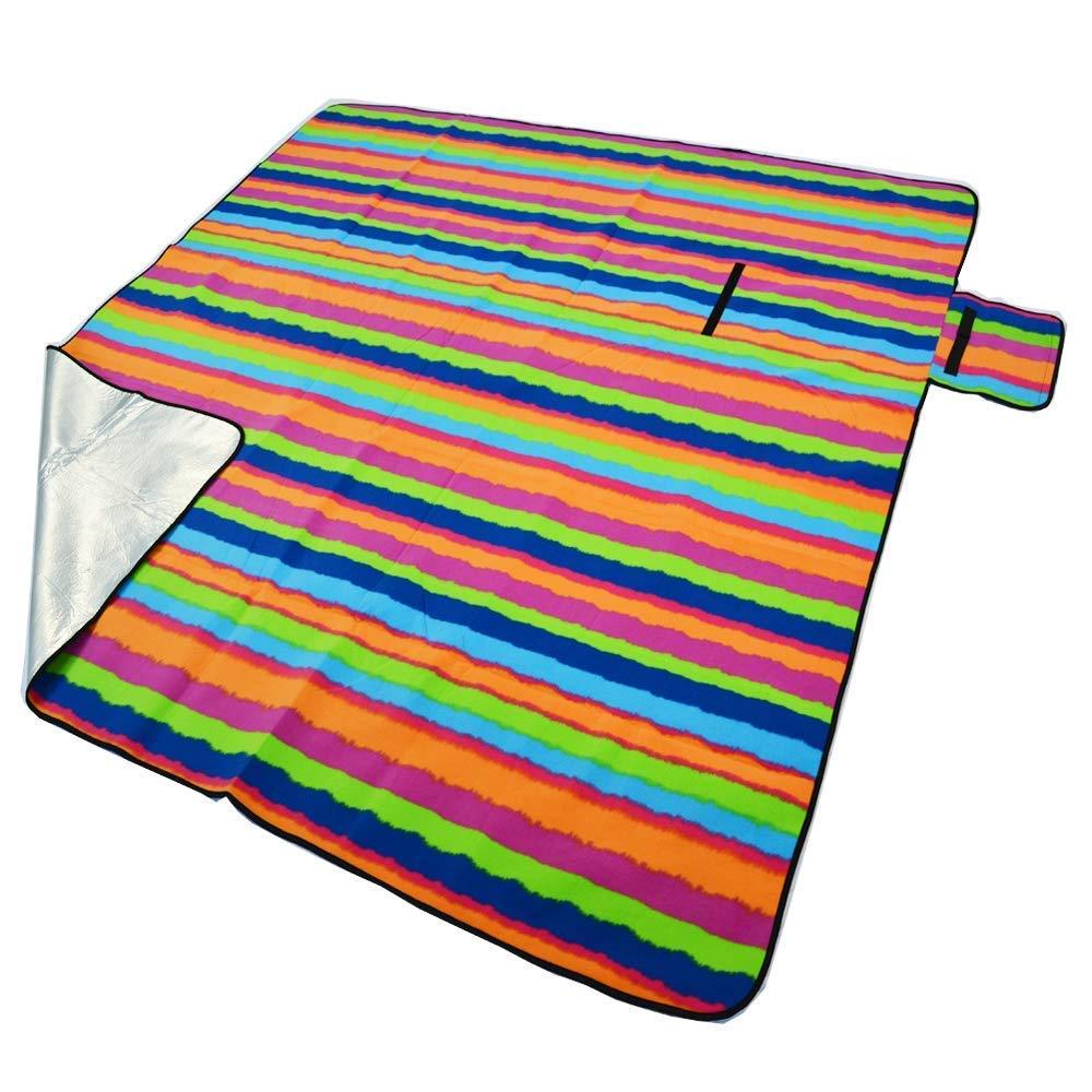 Sinbide Manta Picnic Plegable Resistente al Agua Anti Arena Playa Camping Viaje Exterior 200x 200cm, Bandes colorées Bandes colorées Sinbide®
