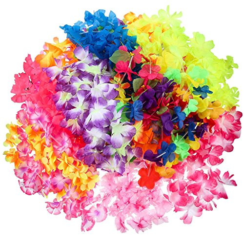 Hawaiian Leis 50 Pack - Best for Limbo Game Tropical Luau Party Supplies Pack It
