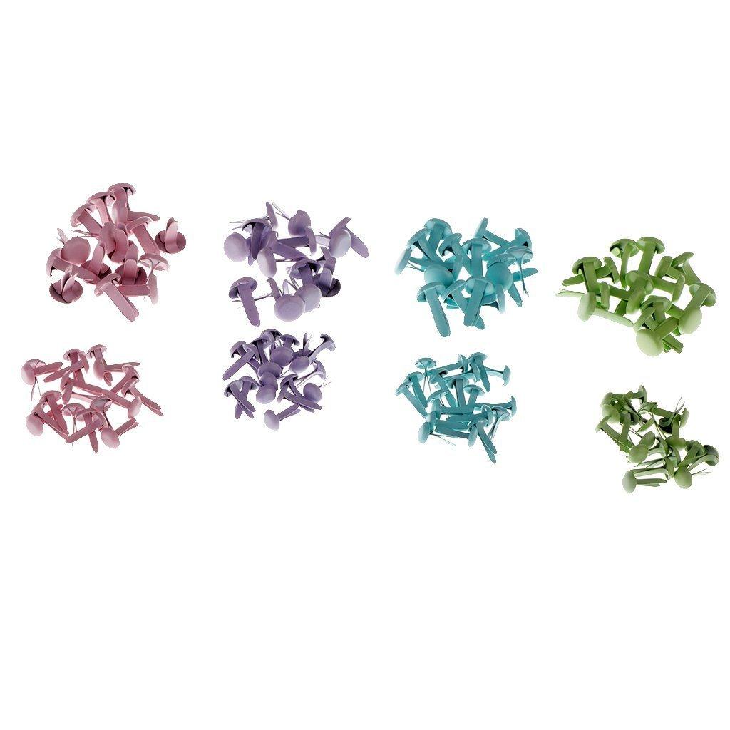 como se describe SGerste 140 piezas Mini redondo pastel Brads Split pines sujetadores papel scrapbooking manualidades sellos y DIY adornos sujetadores 4 colores//caja # 1