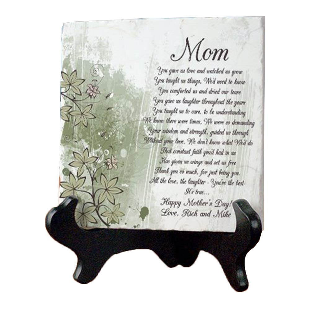 GiftsForYouNow Personalized Mom Poem Tumbled Stone Plaque, 6'' x 6'', Includes Easel