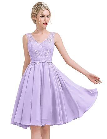 bb9b82a1a08 Erosebridal Princess-Linie V-Ausschnitt Knielang Chiffon Lace  Brautjungfernkleid mit Schleife DE 56W Lavendel
