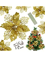 Wereves 12 Pcs Glitter Artificial Poinsettia Flowers with Clips and Stems, 5.5 Inch Artificial Flowers Christmas Flowers Christmas Wreath Garland Christmas Tree Ornaments