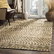Safavieh ORG703A-5 Organic Collection Abstract Area Rug, 5' x 8', Slate/Natu