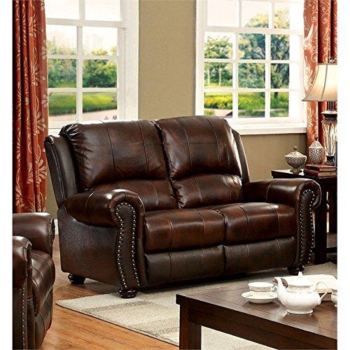 Furniture of America Garry Leather Recliner Loveseat in Dark - Brown Nailhead Trim