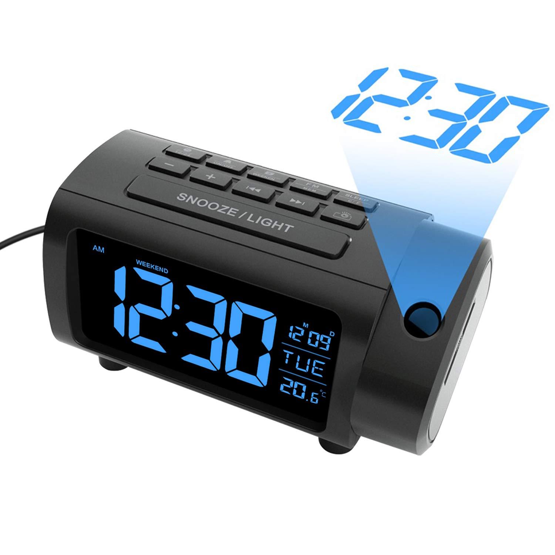LIORQUE Projection Alarm Clock, Alarm Clocks with Projection, 180 ° Rotatable Projection Clock and FM Radio Clock, Large VA Screen, 4-Level Dimmer, Snooze, Digital Clock for Bedroom
