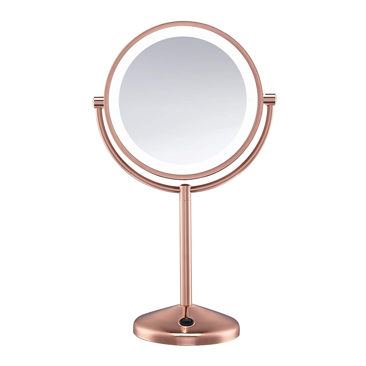 Conair Double-Sided Battery Operated Lighted Makeup Mirror - Lighted Vanity Makeup Mirror, LED Lighting, 1x / 10x Magnification, Rose Gold Finish