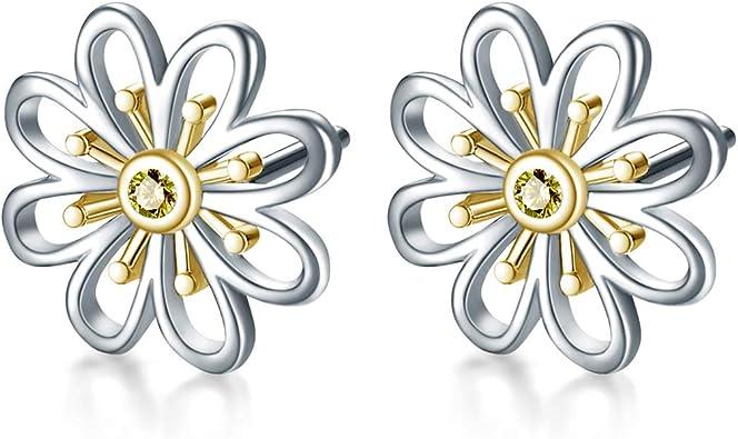 Crystal Earrings 925 Sterling Silver Knot Flower Stud Earrings For Women Wedding Jewelry