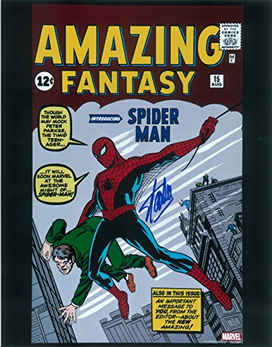 Stan Lee Amazing Fantasy 15 First Spiderman Signed / Autographed 11x14 Glossy Photo. Includes Fanexpo Certificate of Authenticity and Proof of signing. Entertainment Autograph Original.