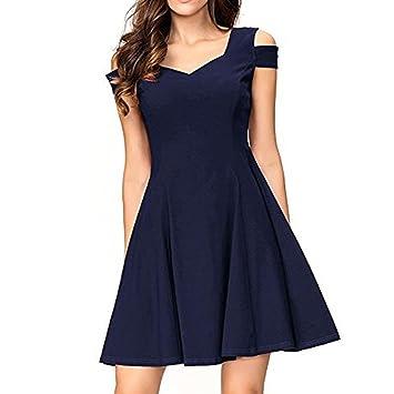 Vestido de verano para mujer de Shouder Frío - Saihui A-Line Sweetheart Swing Vestido para cóctel Noche Fiesta Boda extra-large azul marino: Amazon.es: ...