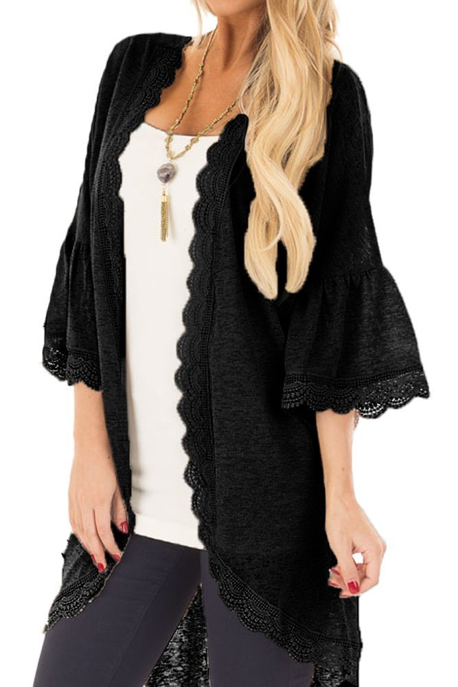 Chunoy Women Loose Splice Boho Fringe Flare Sleeve Solid Hollow Out Kimono Cover up Black Small