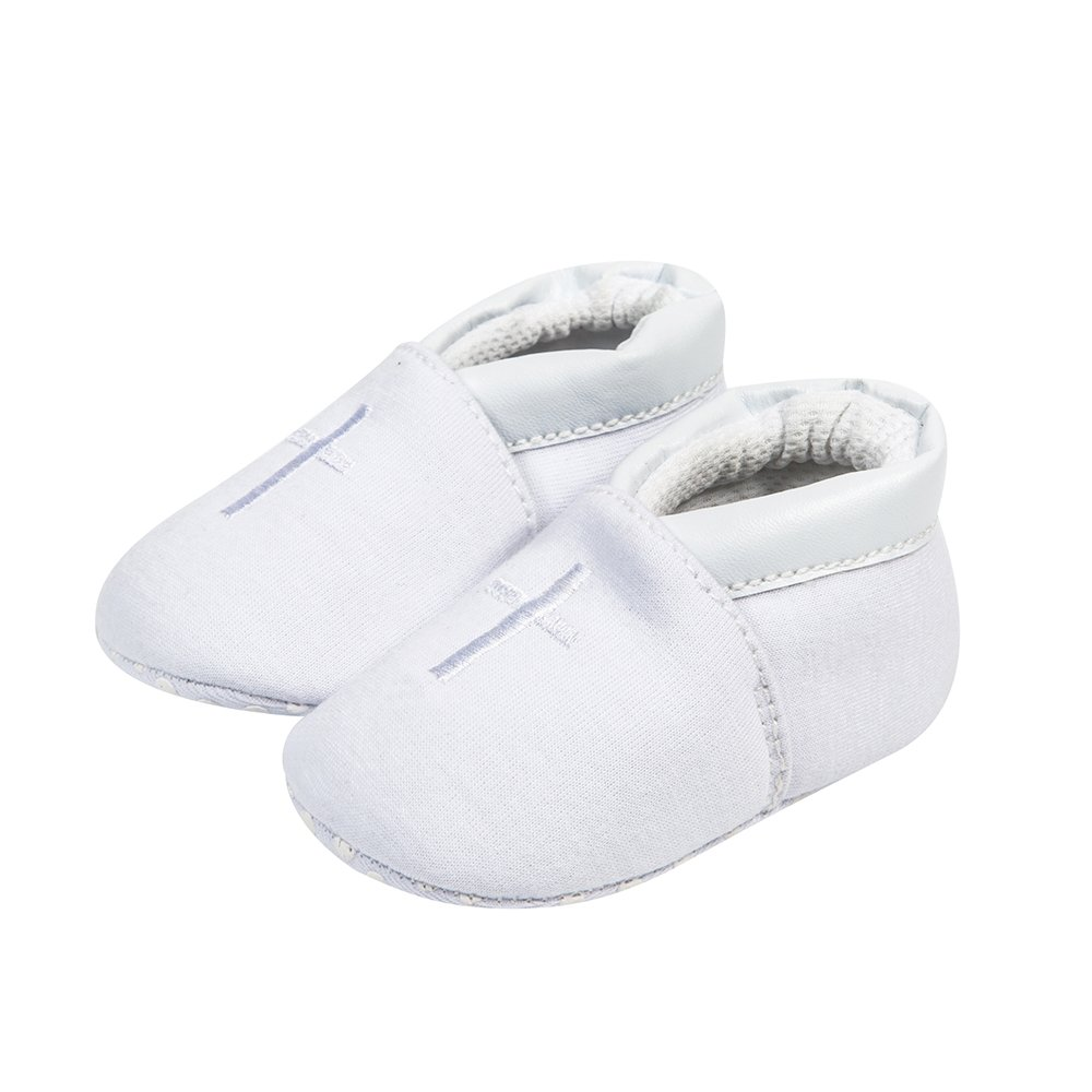 Baby Boys Premium Soft Sole Cross Christening Baptism Slipper Shoes with Embroidered Cross Bib 2 Pack 3-6 Months