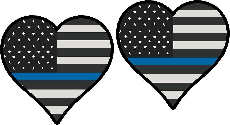 "Thin Blue Line HEART Flag PAIR 3/"" Vinyl REFLECTIVE Vehicle Phone Stickers"