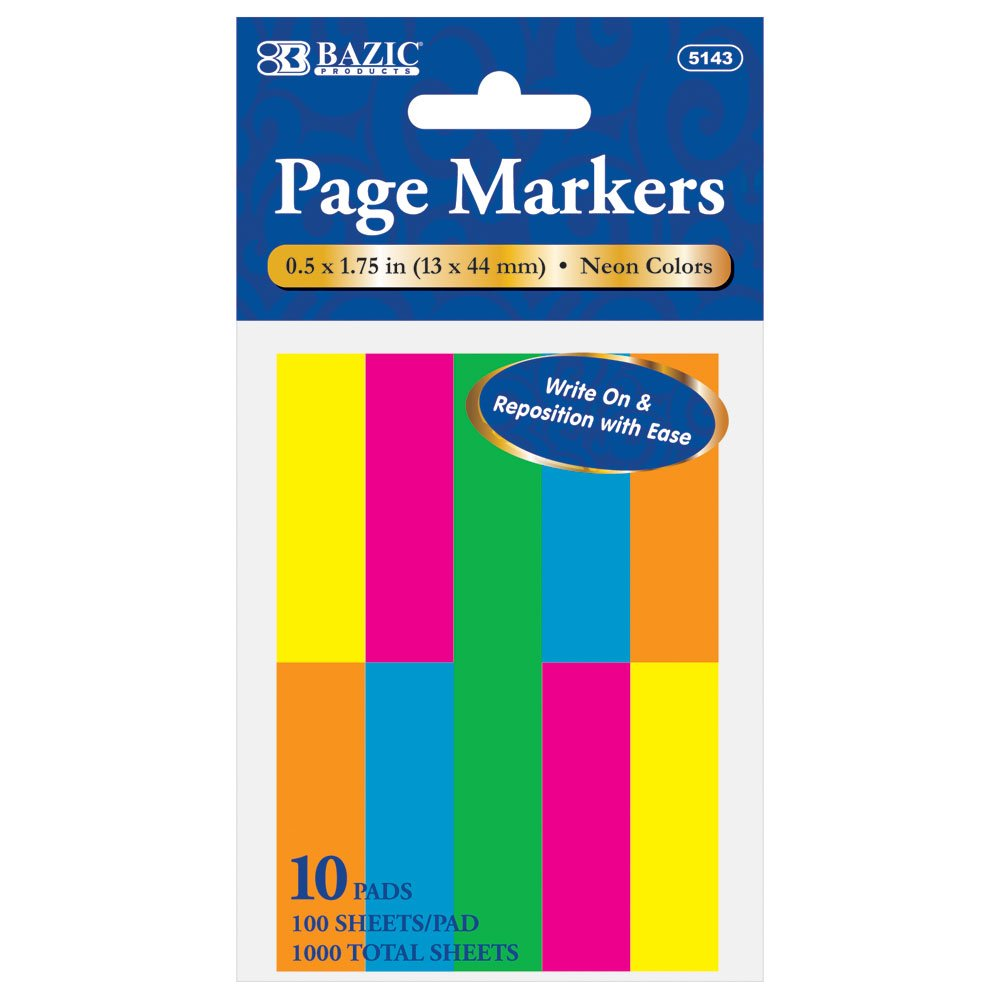 BAZIC 100 Ct. 0.5 X 1.75 Inches Neon Page Marker, 10 Pack (5143-144)