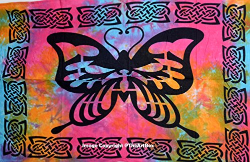 THE ART BOX Poster Wall Décor Art Tapestry Small 40x43 Cotton Multi Color Butterfly Tapestries ()