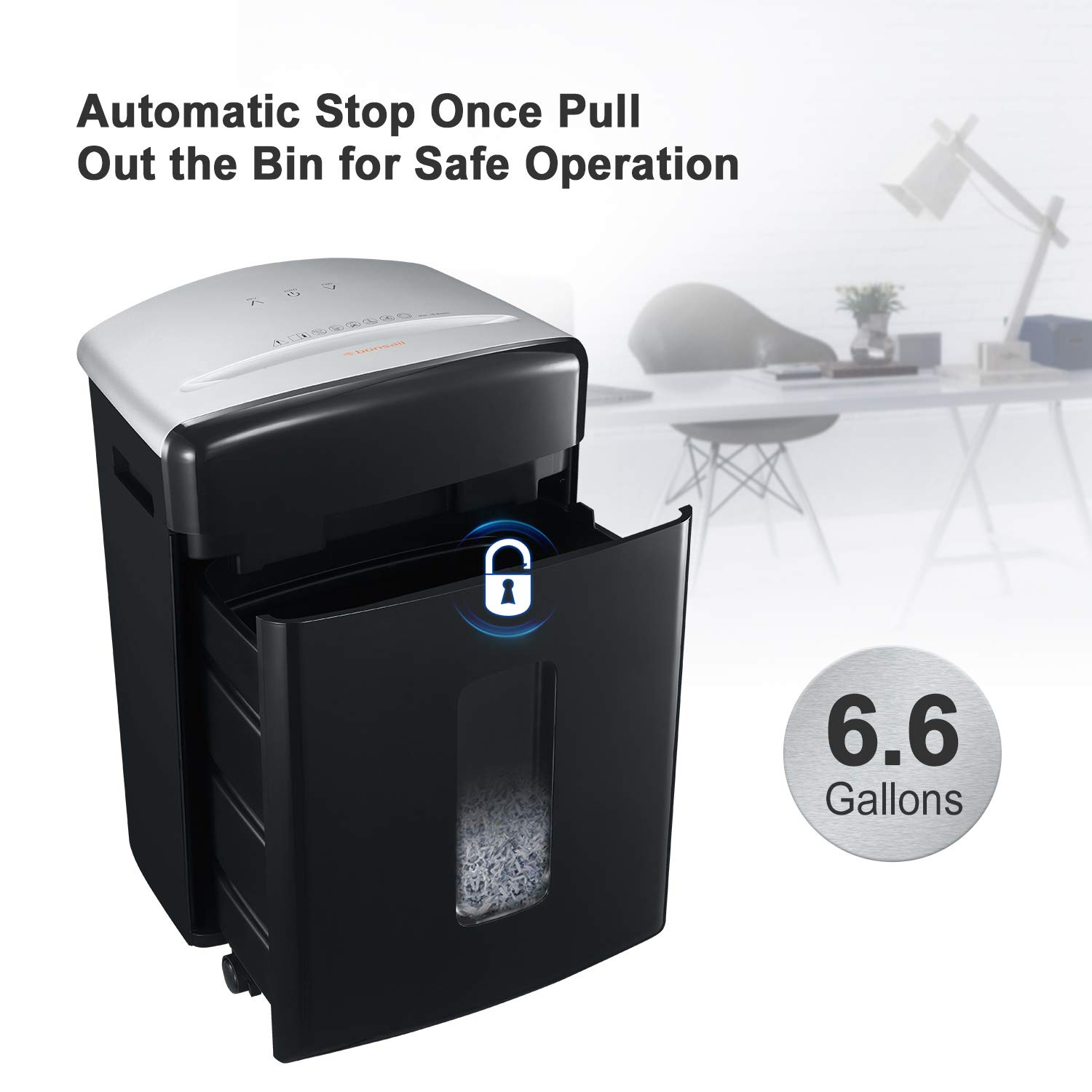 Bonsaii 16-Sheet Micro-Cut Paper/CD/Credit Card Shredder, 20 Minutes Running Time, 60 dB Low Operation Noise, 6.6 Gallons Basket and 4 Casters (C222-B) by bonsaii (Image #6)