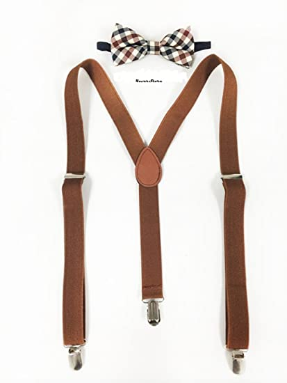 Amazon Com New Brown Suspenders And Bowtie Set Mens Suspenders