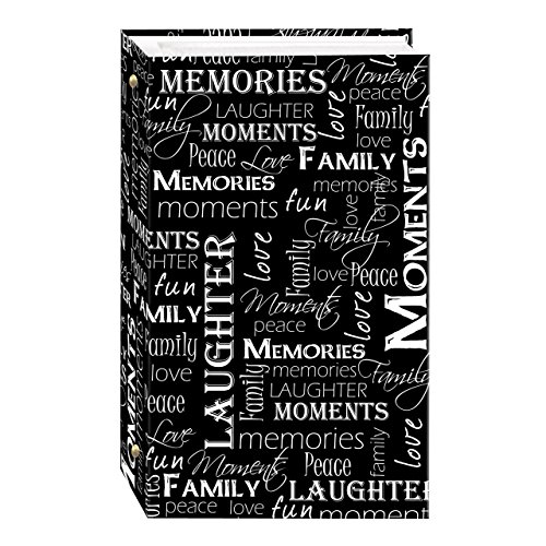 3-Ring Photo Album 300 Pockets Hold 4x6 Photos, Black & White Words Design
