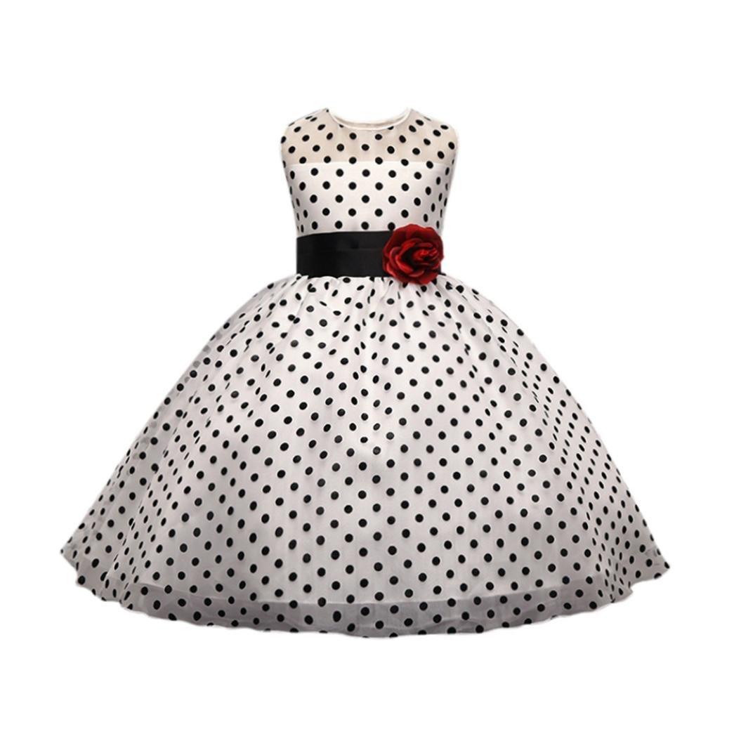 ❤️Elecenty Mädchen Prinzessin Kleid,Baby Tüllkleid Blumen Punkt ...