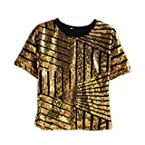 Girls Boys Hip Hop Dance Clothes T-Shirts Pants Sets (6, Gold Top)