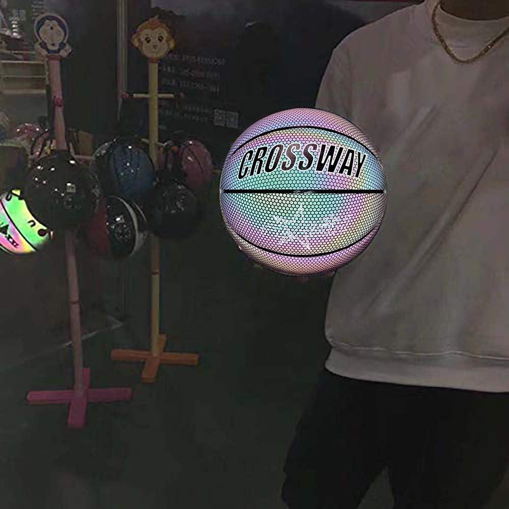Cadeau de Sports de Gar/çon Daiguilles de Boule Basket-Ball Rougeoyant NO.7 de Jeu de Nuit R/éfl/échissant Brillant de Rue PU avec Le Sac de Boule ALLOMN Basketball Lumineux Sac Net Gonfleur
