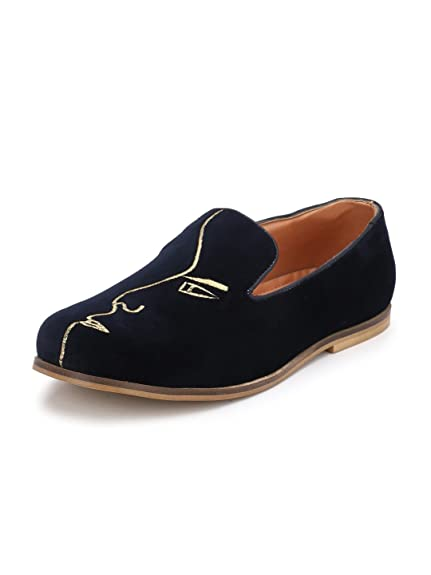8c770c094f1 Lujo embrioded Velvet Loafers - Blue  Buy Online at Low Prices in India -  Amazon.in