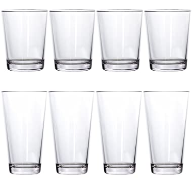 Bistro Premium Quality Clear Plastic Tumblers | set of 8 | four 15-ounce and four 20-ounce