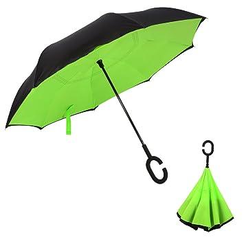Innovador paraguas invertido, Miyarooma doble infrarrojo paraguas fuerte / a prueba de viento capa impermeable