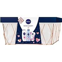 NIVEA Kleine Auszeit Geschenkset, Pflegeset im Badezimmerkorb mit Pflegedusche, Gesichtsmaske, Body Lotion, schönes Geschenk als Dankeschön