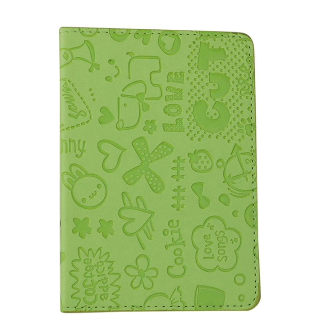 LLguz Unisex Cartoon Pattern Passport Holder Protector Wallet Business Card Soft Passport Cover Certificate Card Bag Passport Protection Cover (Green)
