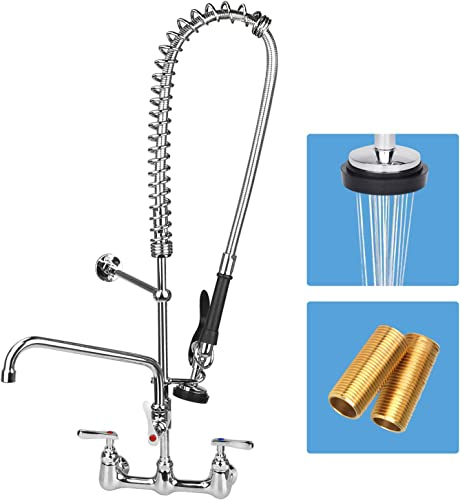COOLWEST Commercial Sink Faucet 8 Inch Center Wall Mount Kitchen Faucet with Pull Down Pre-rinse Sprayer and 12 Add-on Swivel Spout, 36 Height Perfect for 3 Bay Compartment Sink