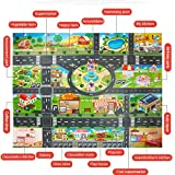 Kids Playmat Rug 39Pcs City Map Car Toys Model Crawling Mat Game Pad for Children Interactive Play House Toys (28Pc Road Sign+10Pc Car+1Pc Map)