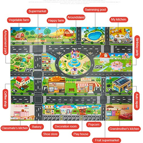 Kids Playmat Rug 39Pcs City Map Car Toys Model Crawling Mat Game Pad for Children Interactive Play House Toys (28Pc Road Sign+10Pc Car+1Pc Map) by RXIN
