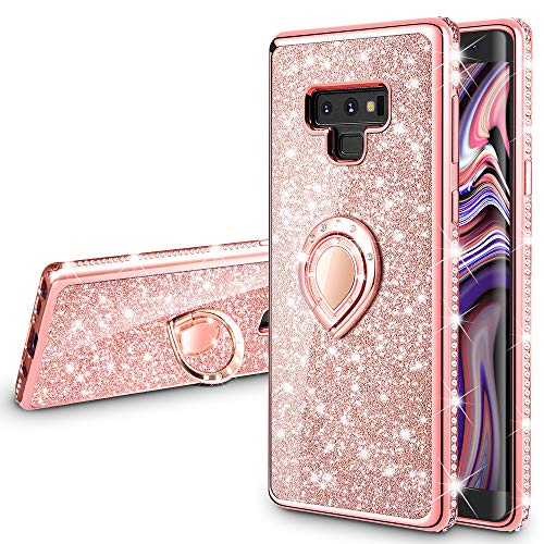 VEGO Galaxy Note 9 Case Glitter with Ring Holder Kickstand for Women Girls Bling Diamond Rhinestone Sparkly Bumper Fashion Shiny Cute Protective Case for Galaxy Note 9(Rose Gold) (Samsung Note 4 Case Bling Wallet)