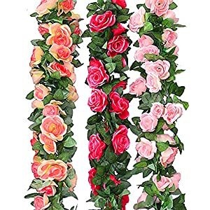 MEIBEL 3pcs Artificial Flowers Rose Vine Fake Flower Garland (22.6 Feet) for Wedding Home Garden Party Decoration 41