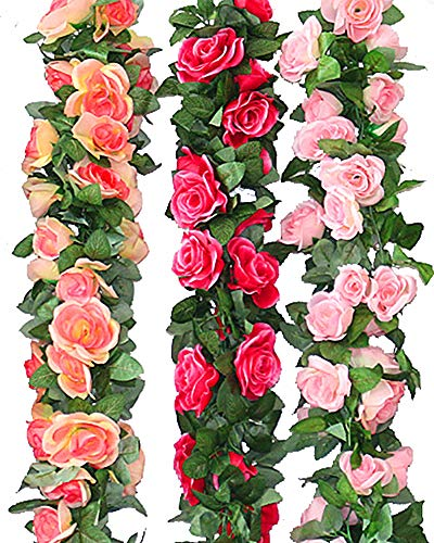 MEIBEL 3pcs Artificial Flowers Rose Vine Fake Flower Garland (22.6 Feet) for Wedding Home Garden Party Decoration