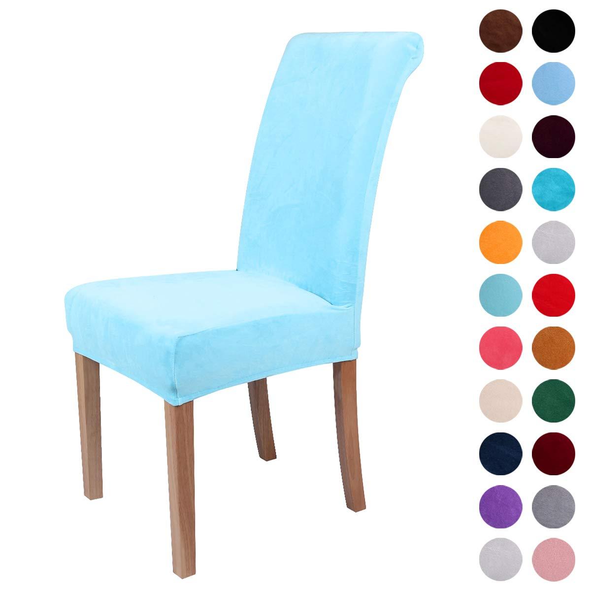 colorxyスパンデックス生地ストレッチダイニングルーム椅子のSlipcoversホームDecorセット4  レイクブルー B0779S11J9