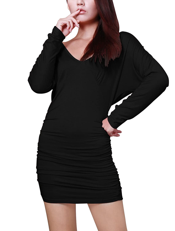 Allegra K Women Deep V Neck Open Back Fitted Mini Dresses Clubwear